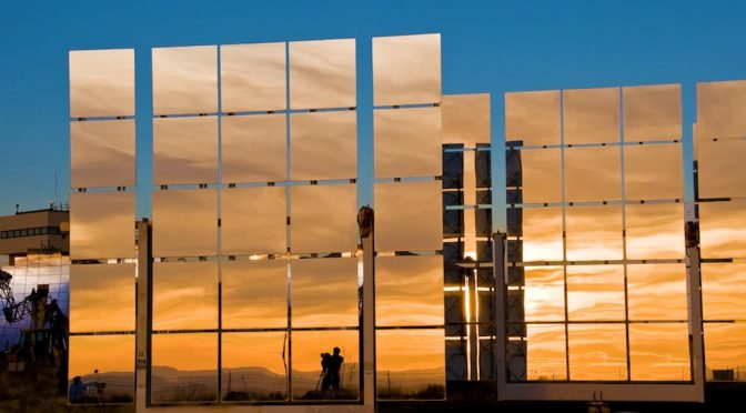An experimental solar mirror from Sandia Labs.